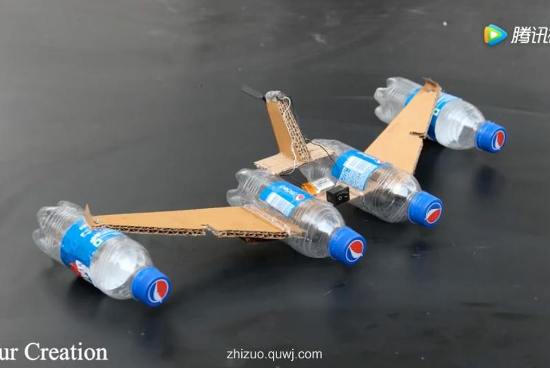 科技小制作视频:可乐瓶和纸板DIY战船
